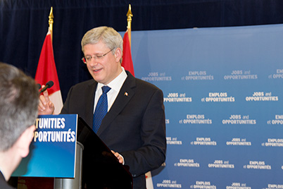Prime Minister Stephen Harper announcing the New Building Canada Plan
